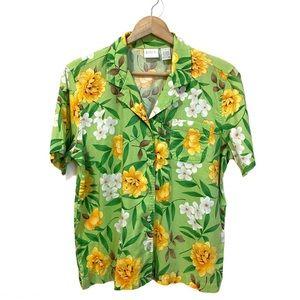 Vintage Erika Hawaiian Floral Top Button Front L